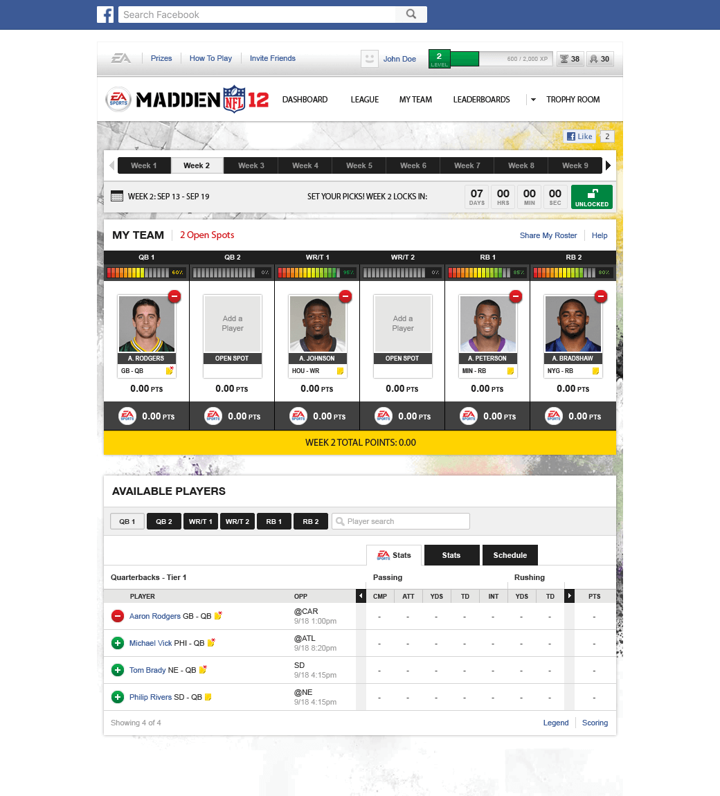 EA Madden Fantasy Football Team